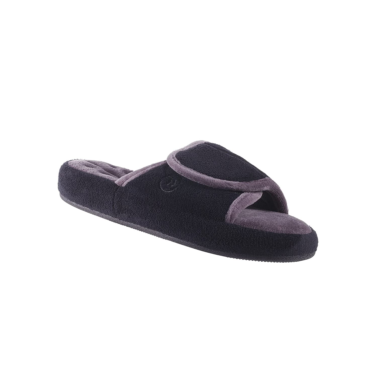 ISOTONER Women's Microterry Spa Slide Slippers Black Grey 8.5 9