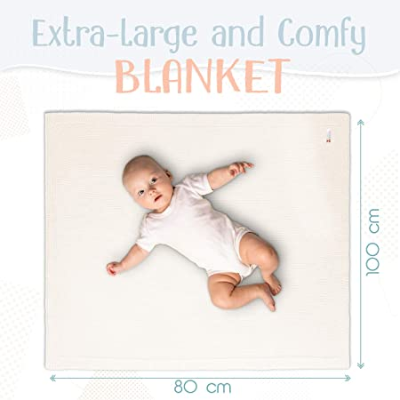 Sweety Fox - Manta Bebe para Niño y Niña 80 x 100 cm - 100% Algodon Ecológico - Mantita Bebe Blanca - Accesorio Perfecto para Bebé - Regalo perfecto para Bebe Recién Nacido