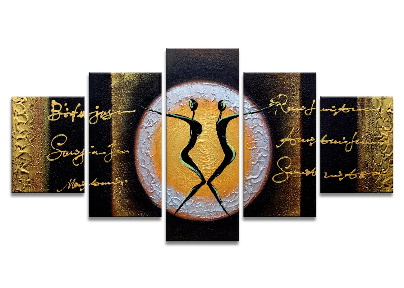 Moyedecor Art - 5 Panel Wall Art Gold and Black Dance Paintings The Picture Prints On Canvas Abstract Pictures For Home Decor Decoration Living Room Ready to Hang