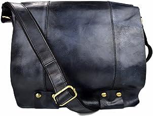 Bolso de cuero bandolera de piel azul bolso vintage espalda hombre mujer de piel bolso messenger bolso cuero bolsillo de piel lavada