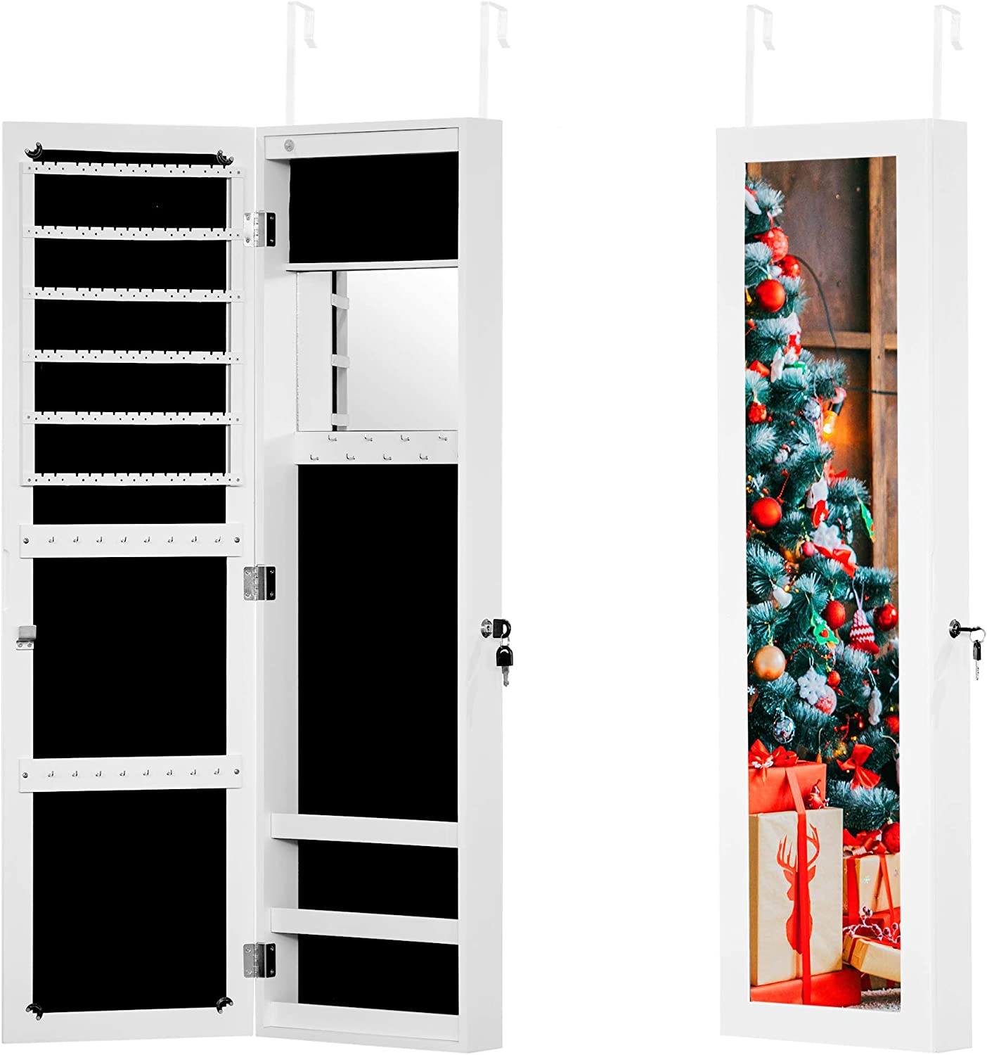 White 12 LEDs Jewelry Cabinet with Full Screen Mirror Foxloly Wall//Door Mounted Jewelry Armoire Organizer Full Length Dressing Mirror