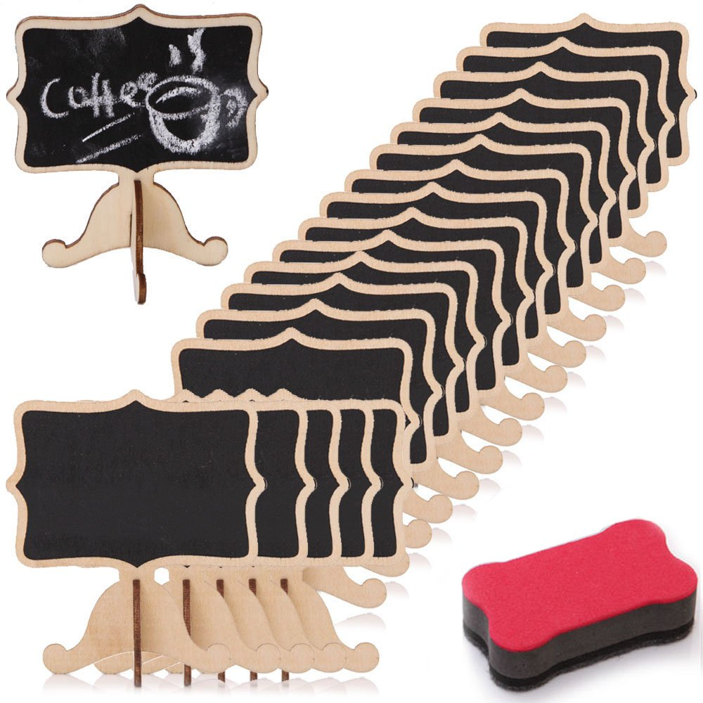 LONGBLE 20Pcs Mini Chalkboard,Small Cute Blackboard with Base Stand Burly Wood Menu Boards Desktop Table Plate Number Message Board Card Label Tags Decoration for Wedding Party Daily Home Decor (A)