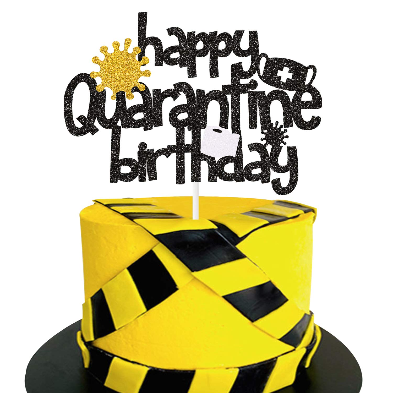 Social Distancing Bday Lockdown Party Supplies Stay Home Birthday Party Centerpiece Decoration Happy Quarantine Birthday Cake Topper