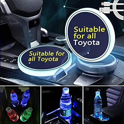 Noveltys 2pcs LED Car Cup Holder Lights for Toyota, 7 Colors Changing USB Charging Mat Luminescent Cup Pad, LED Interior Atmosphere Lamp (fit Toyota): Automotive