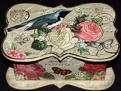 Nueva Punch Studio cajas/Pájaro y flor Fleur de Lis 1 Lujo Aroma de rosa