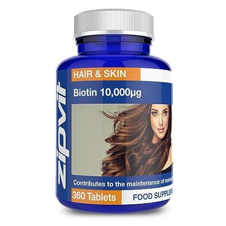Biotina 10,000mcg | 360 comprimidos | La potencia más alta | Para un pelo saludable