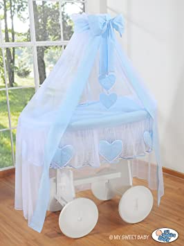 Deluxe Heart Collection Large Wheeled White Wicker Crib Moses