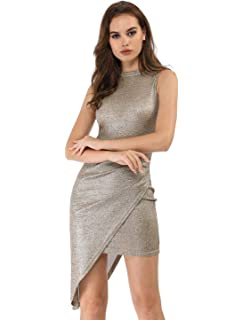 c3600904bf45 Allegra K Women's Metallic Shiny Asymmetrical Drape Bodycon Party Dress
