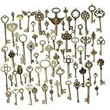 SODIAL(R)Set of 69 Antique Vintage Old Look Bronze Skeleton Keys Fancy Heart Bow Pendant