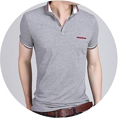c3e4ed8d2e8 2019 Summer Men Business Casual Breathable White Striped Short Sleeve Polo  Shirt