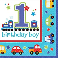 """All Aboard! Birthday Party Luncheon Napkins Tableware, Multi Colored, Paper, 6.5"""" x 6.5"""" (Folded), 36-Piece"""