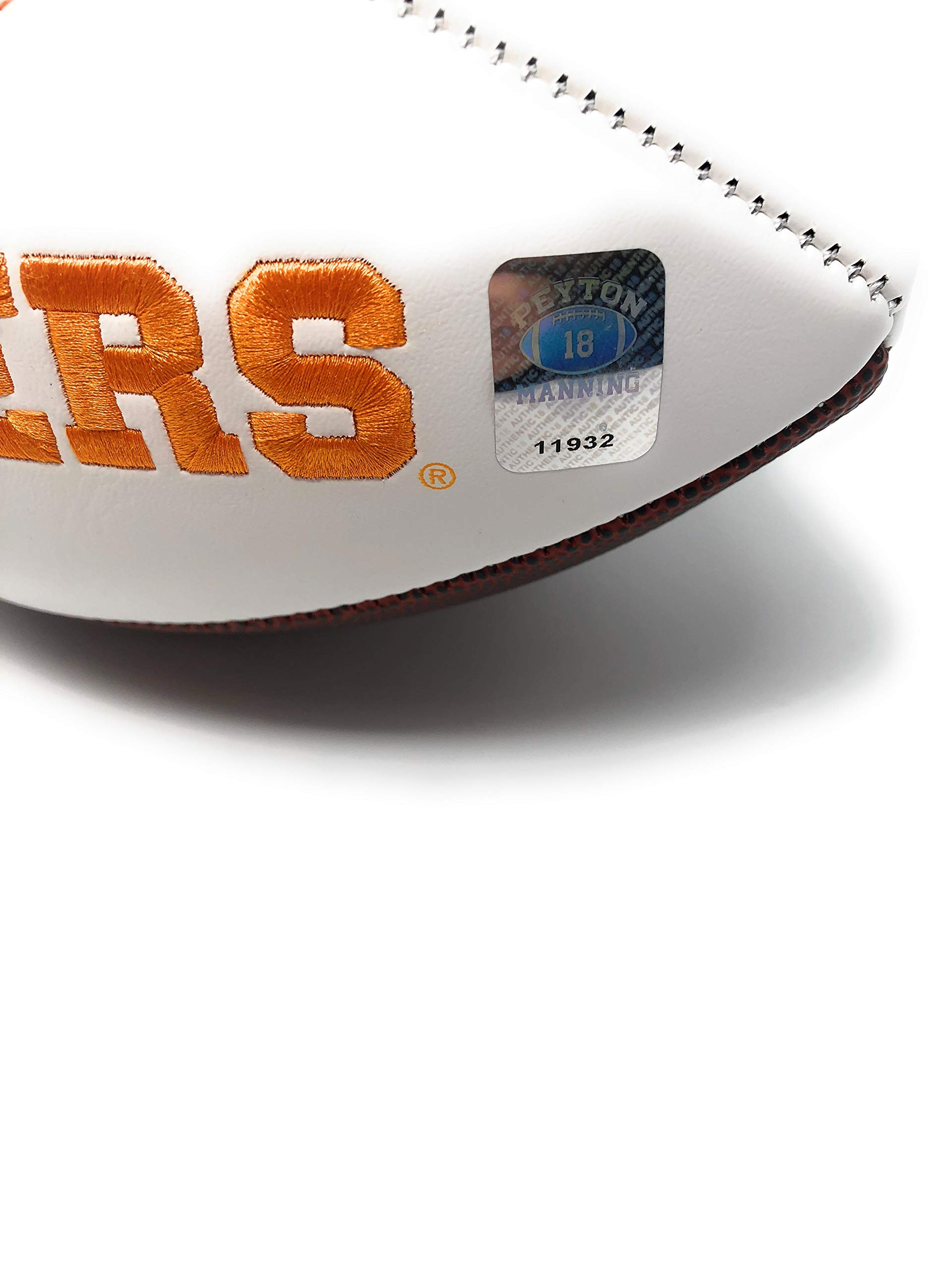 Peyton Manning Tennessee Volunteers Signed Autograph Embroidered Logo Football Manning Player Hologram