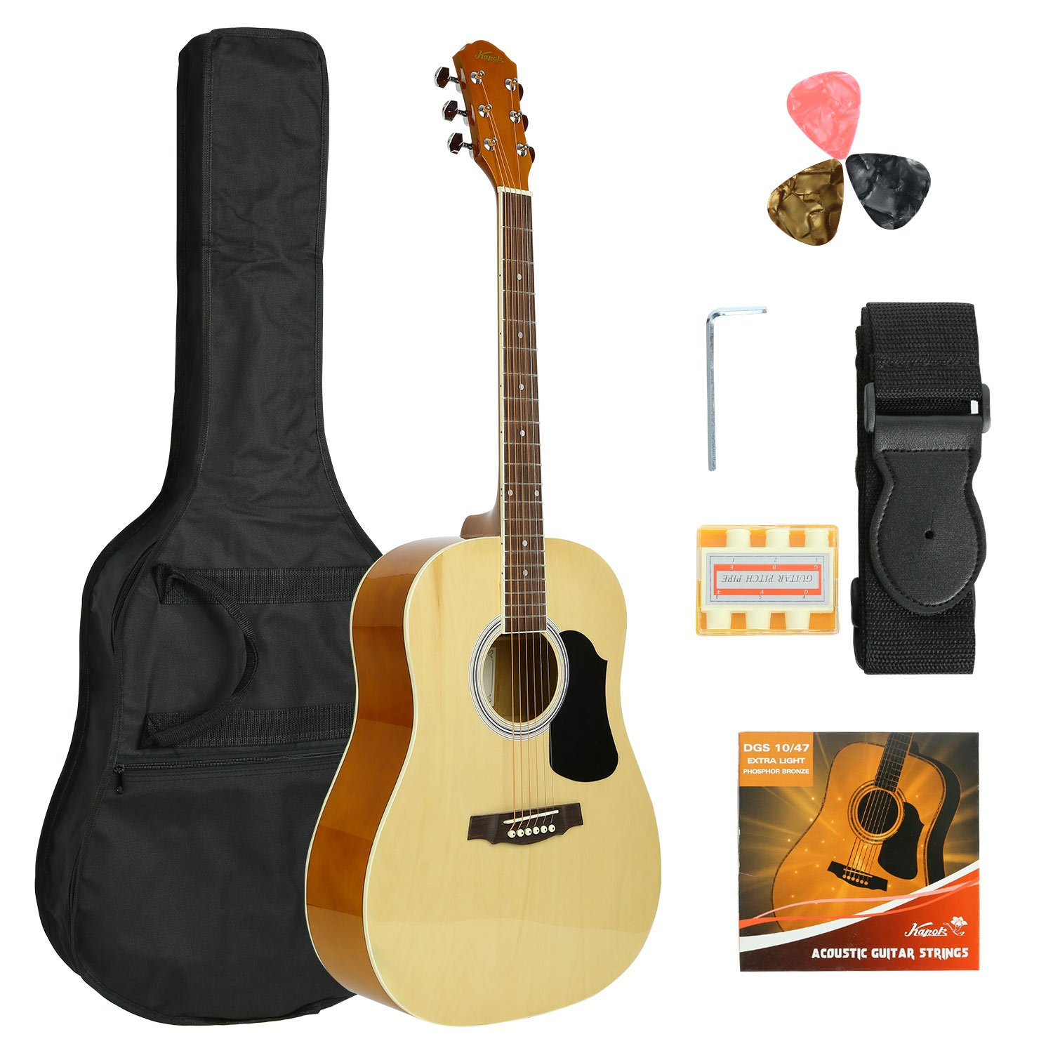 KAPOK AZ24DNPACK41-OB Full Size 41'' Acoustic Dreadnought Guitar with Bag & More Accessories, String, Picks, Strap and Pitch Pipes, Entry Level, Natural