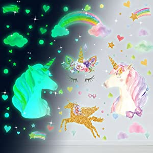 Glow in the Dark Stars Glowing Unicorn Wall Decals Glowing Unicorn Wall Mural Stickers with Unicorn Star Rainbow Flower Heart Clouds Bubbles Room Decor for Girls Bedroom Ceiling Baby Home Kid Birthday