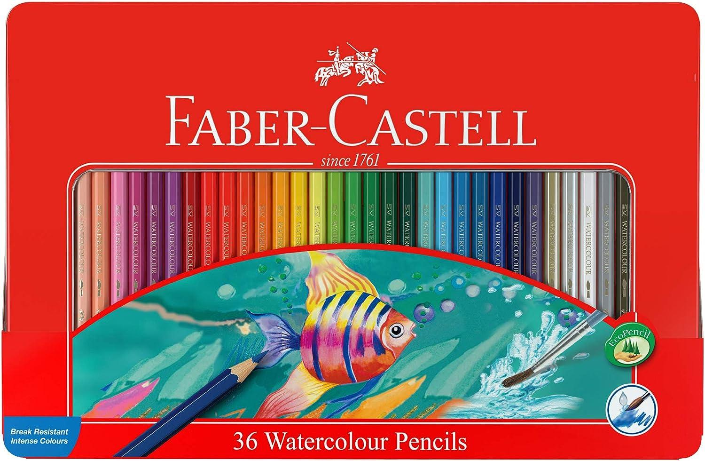 Faber-Castell 115931 - Estuche de metal con 36 lápices de color acuarelables, multicolor: Amazon.es: Juguetes y juegos