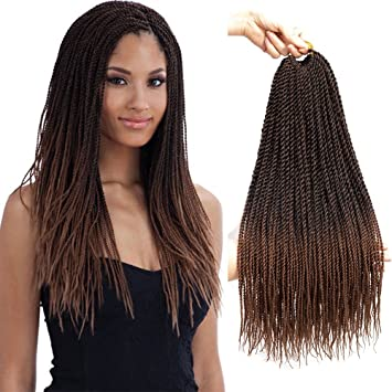 VRUnique 6 Packs (18Inch, 1B/30) Ombre Senegalese Twist Crochet Hair Braids  Small Havana Mambo