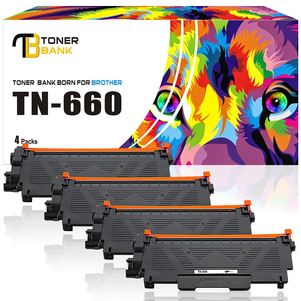 Toner Bank 4Packs Toner Cartridge TN660 TN-660 Compatible with Brother TN660 Toner TN 660 Brother TN630 for Brother MFC-L2700DW MFC-L2740DW HL-L2340DW DCP-L2540DW HL-L2380DW HL-L2360DW HL-L2300D Toner