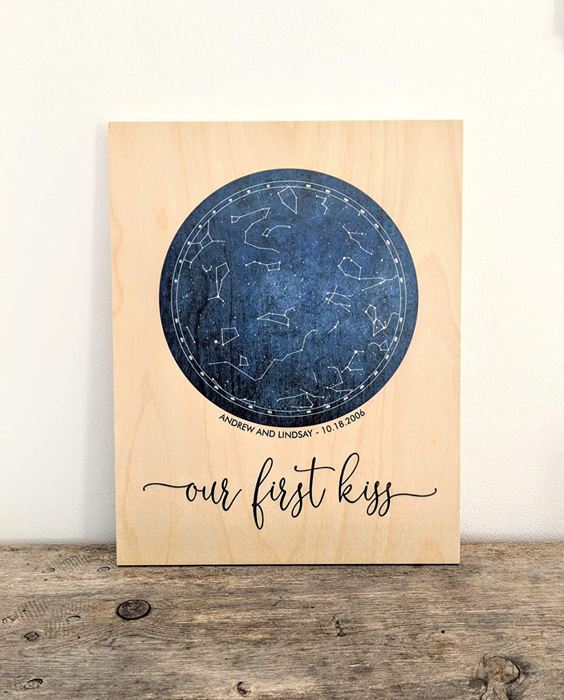 Sky Chart Star Chart Print On Wood Night Sky Gift for Him Star Map Constellation Map Boyfriend Gift Constellation Map On Wood Custom Night Sky Print Anniversary Gift