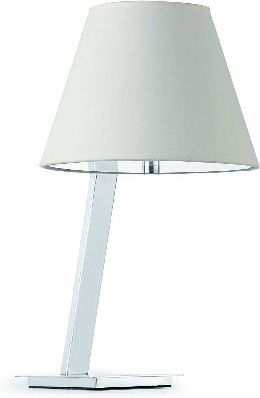 Faro Barcelona 68500 - MOMA Sobremesas y lámparas de pie, 60W, acero, pantalla textil blanca, difusor pvc opal, color blanco
