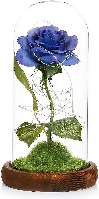 Konesky Rose in Glass, Eternal Rose in Glass La Bella y la Bestia LED Flores de Rosas Artificiales Rosa preservada Luces de Hadas LED Regalo romántico ...