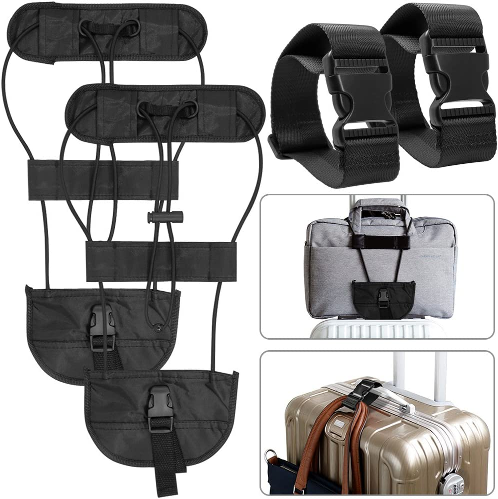 AFUNTA 4 Packs Añadir Un cinturón de Equipaje y Correas, Adjustable Travel Suitcase Belt Attachment Accesorios para conectar Bolsas Juntos – Negro