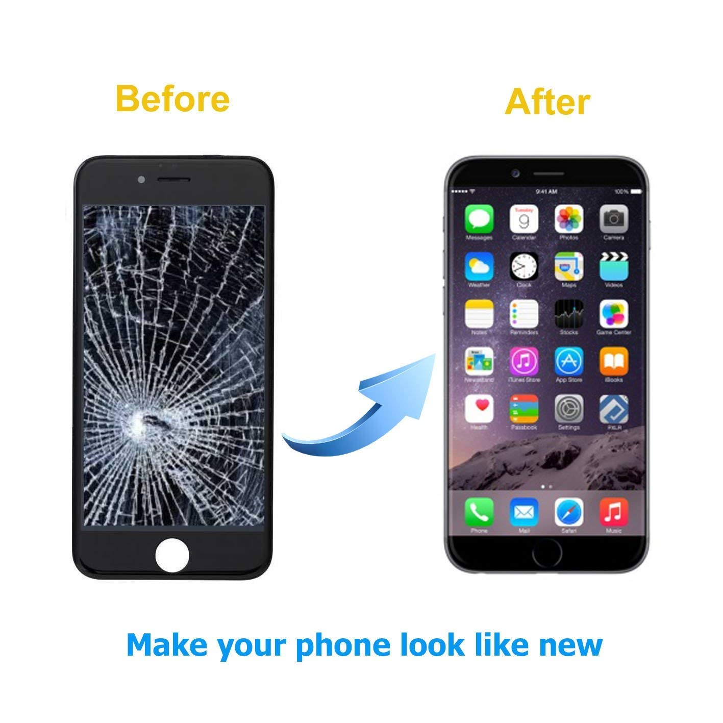 FFtopu Compatible for Screen Replacement for iPhone 7 Plus in Black, Including All Tools,Repair Kit with Digitizer LCD Touch Screen Frame Assembly (iPhone 7 Plus, 5.5'' by FFtopu (Image #6)