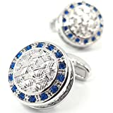 LBFEEL Blue Crystal Celtic Woven Mesh Cufflinks for Men with a Gift Box