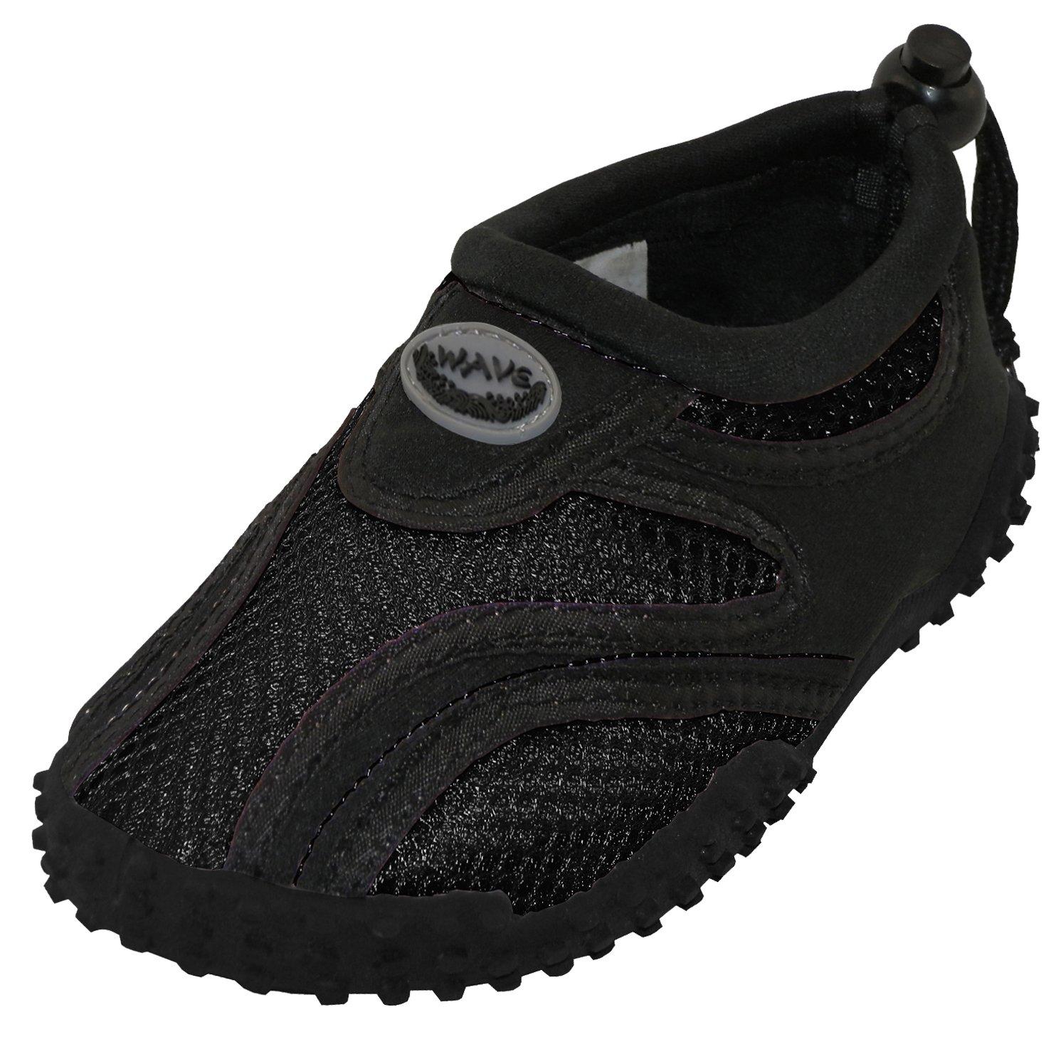 Cambridge Select Toddler's Slip-On Mesh Quick Dry Drawstring Non-Slip Water Shoe (Toddler),9 M US Toddler,Black/Black