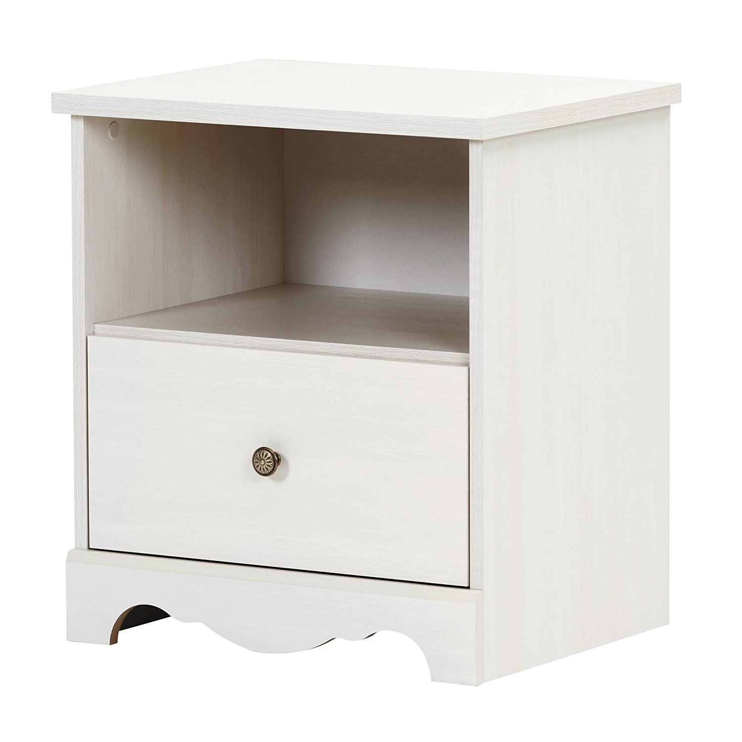 South Shore Caravell 1-Drawer Nightstand, White Wash 10300