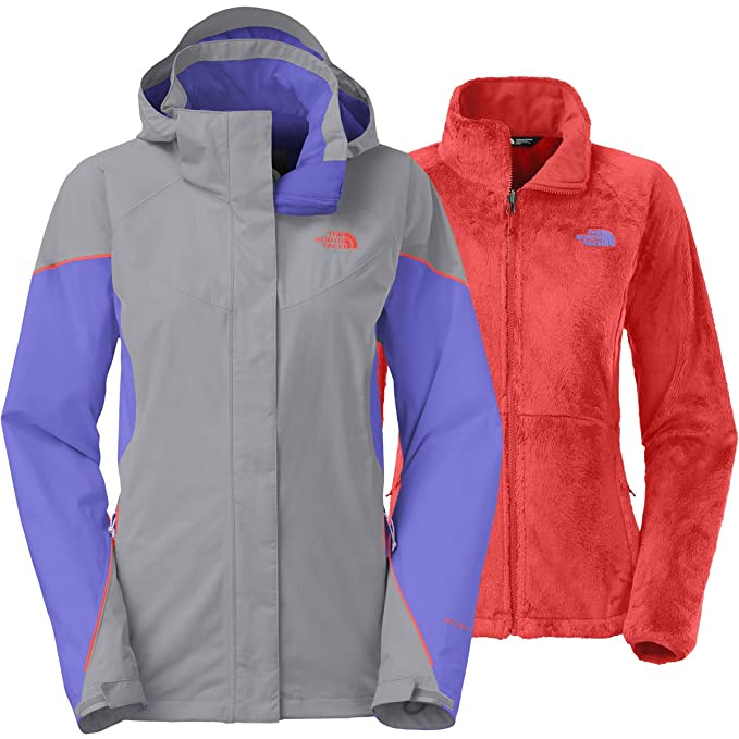 The North Face Womens Boundary Triclimate Jacket (Medium, Mid Grey/Starry Purple/Radiant Orange)