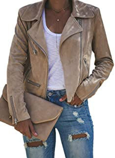 Apperloth Faux Suede Jackets for Women Long Sleeve Zipper ...