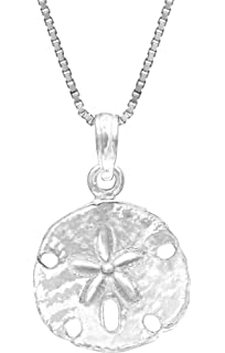 Amazon sterling silver sand dollar necklace pendant with 18 sterling silver sand dollar necklace pendant with 18 box chain aloadofball Images