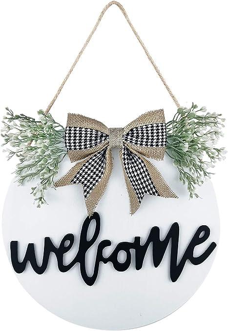 Welcome Sign Porch Decor Rustic Wooden Hangers Front Door Entry Outdoor Hanging
