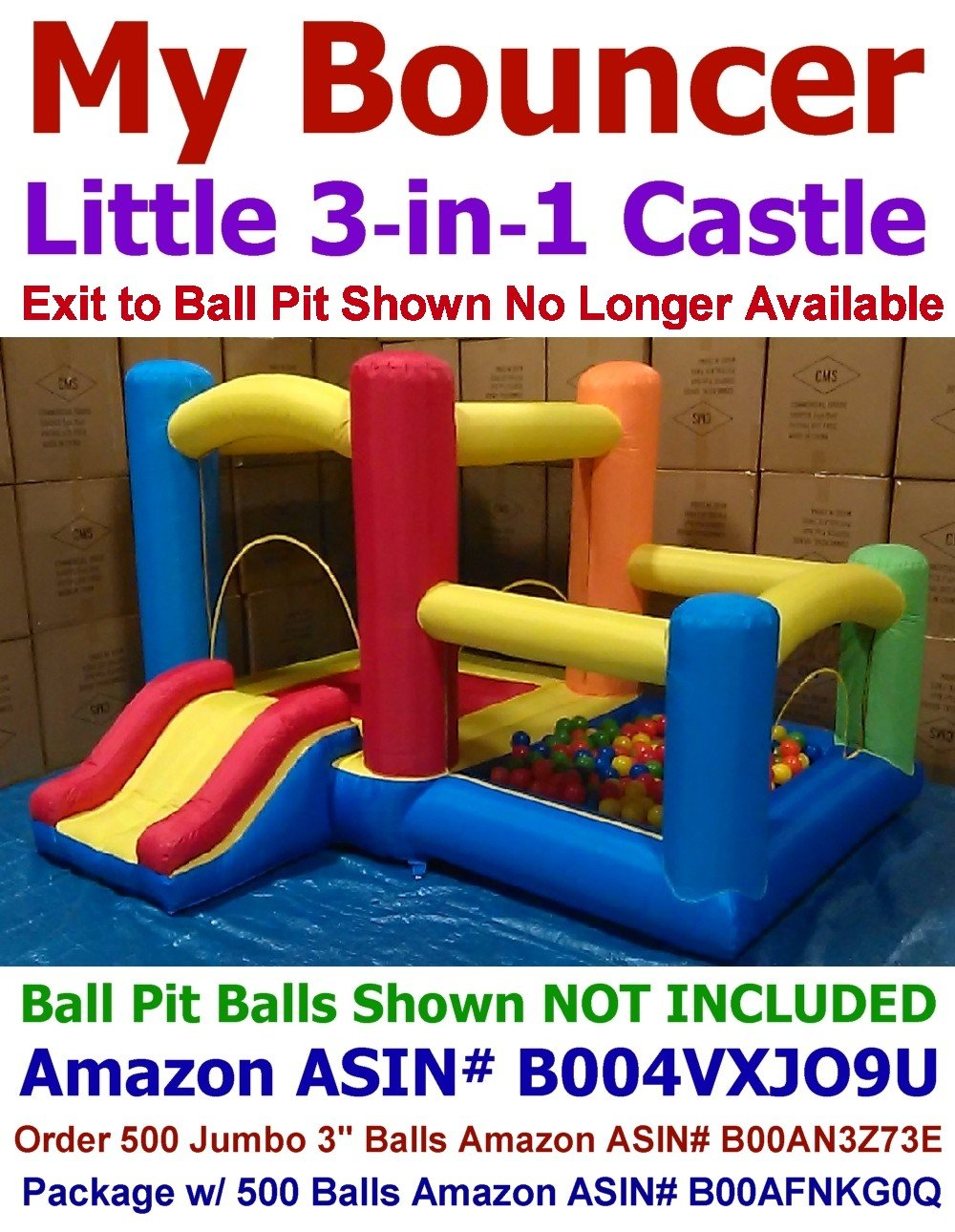 My Bouncer 3-in-1 Little Castle Bounce 118'' L X 102'' D X 72'' H with Attached Ball Pit and Slide
