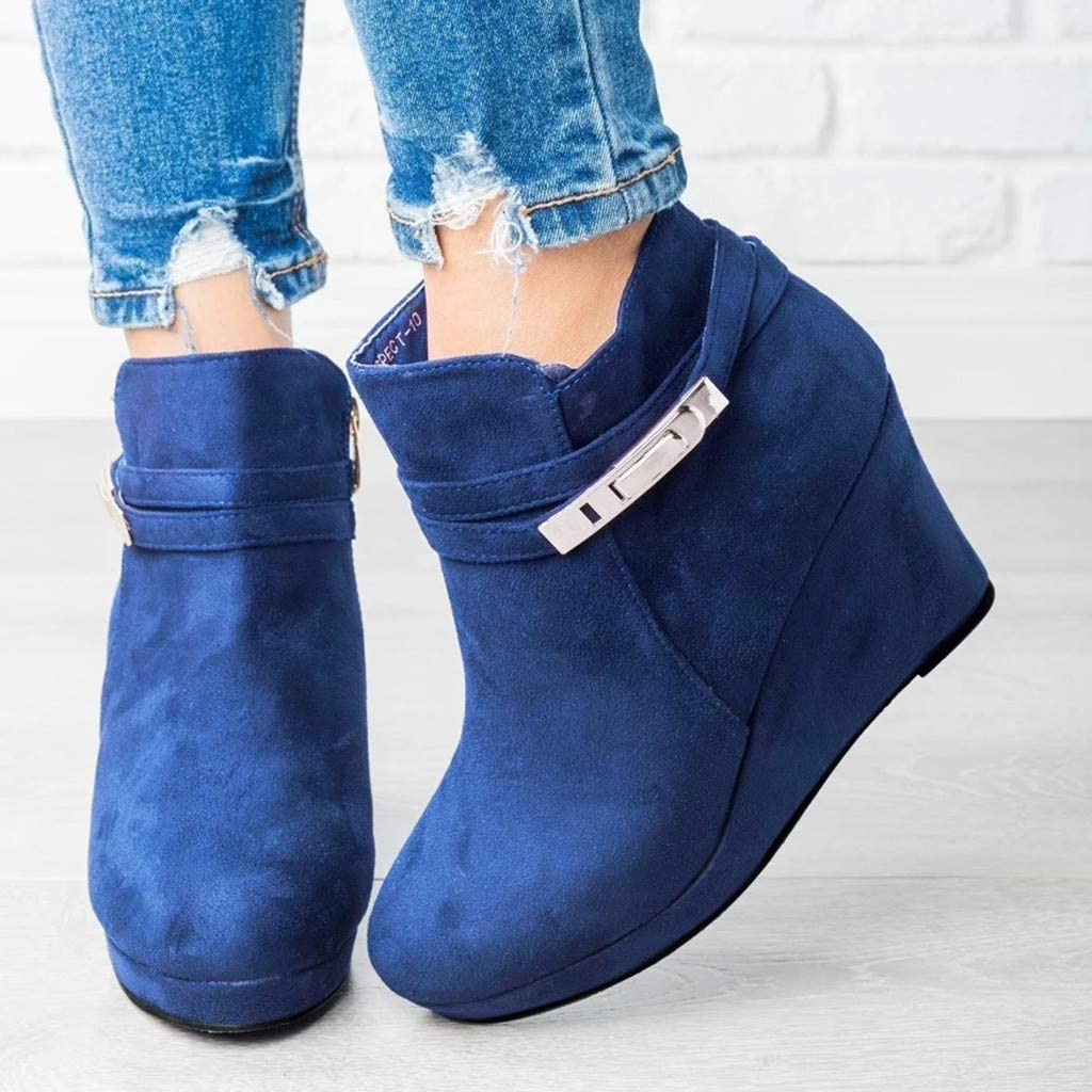 Midress Womens Ladies Ankle Boots Chunky Platform Wedges Shoes Solid Color Slip On Casual Shoes Short Boots Retro Booties