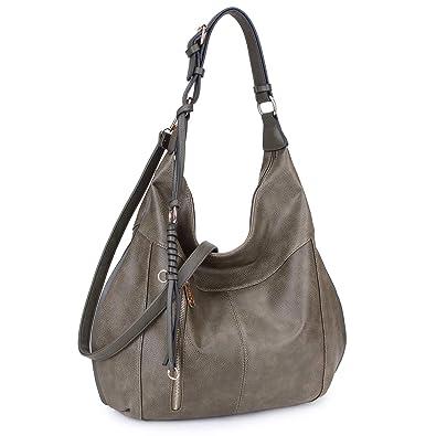 5a3c67bc71 Amazon.com  Dasein Hobo Shoulder Bag Top Zip Handbag Large w Crossbody  Strap Army Green  Shoes