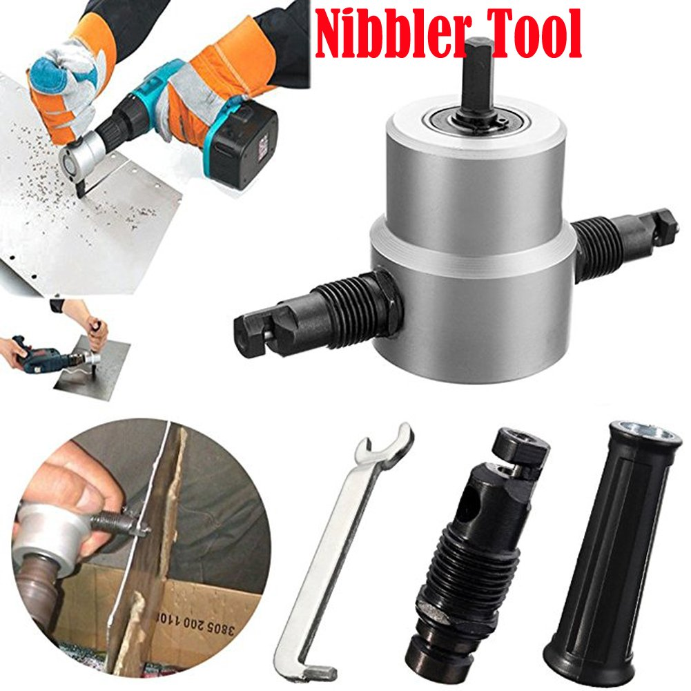 FashionSun Double Head Sheet Nibbler Metal Cutter,360 Degree Drill Attachment Metal Nibbler Tool Kit with Wrench and Extra Nibbler Parts ( 5Pcs Set )