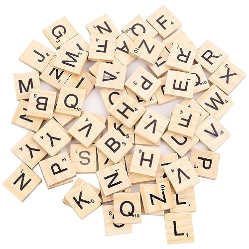 100 Pièces Lettres de Scrabble Alphabet pour Jouer   Lettres en Bois pour Art et Décoration Maison   Tuiles de Remplacements Rechange avec Valeur Numérique   pour les petits et les grands   idéal p