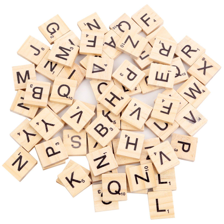 Beyond Dreams 100 Pi/èces Lettres de Scrabble Alphabet pour Jouer Tuiles de Remplacements avec Valeur Num/érique id/éal pour Les soir/ées de Jeux Entre Amis et en Famille Lettres en Bois