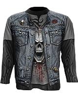 Spiral - Men - THRASH METAL - Allover Longsleeve T-Shirt Black