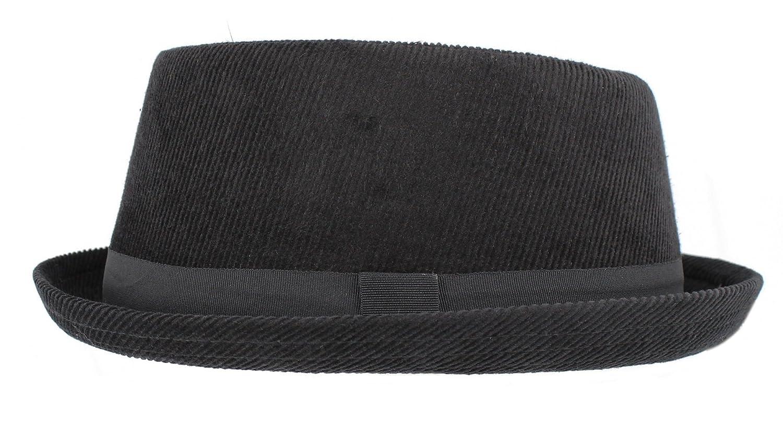 Hawkins Headwear Corduroy Black Pork Pie H95 (Unisex/Mens/Ladies)