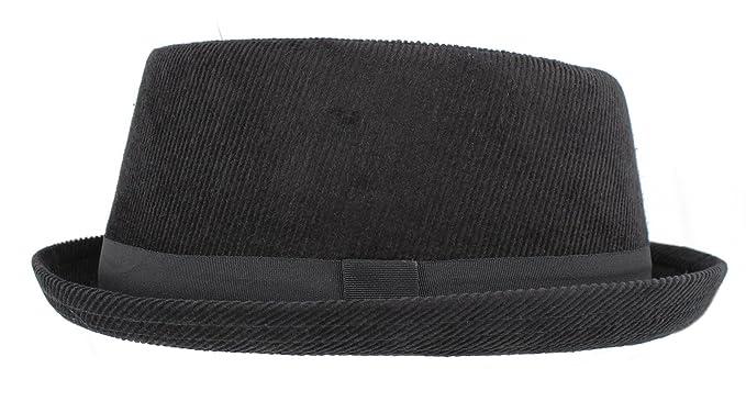 donde puedo comprar precio loco Mitad de precio Hawkins Pork Pie H95 - Sombrero de Pana Negro (Hombres, Mujeres, Unisex)