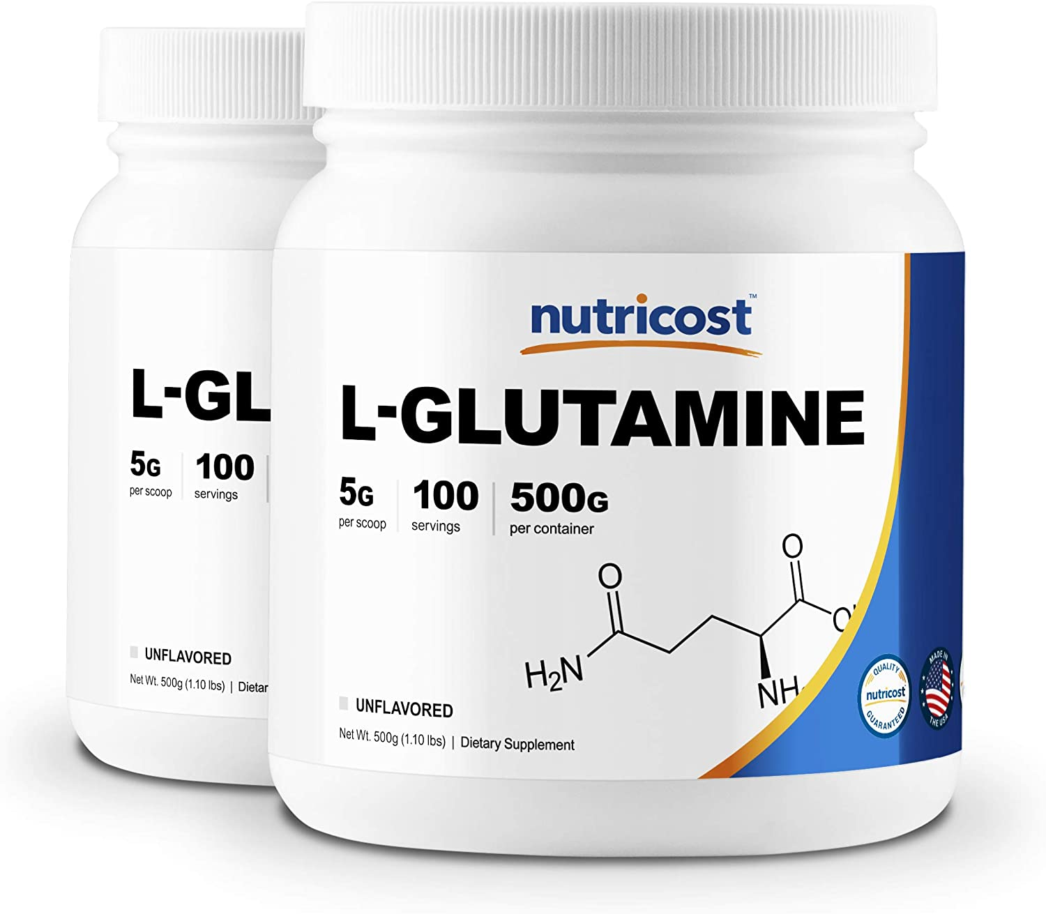 Nutricost L-Glutamine Powder 500G 2 Pack – 5000mg Per Serving – 1.1 Pounds 100 Servings Each – Highest Purity