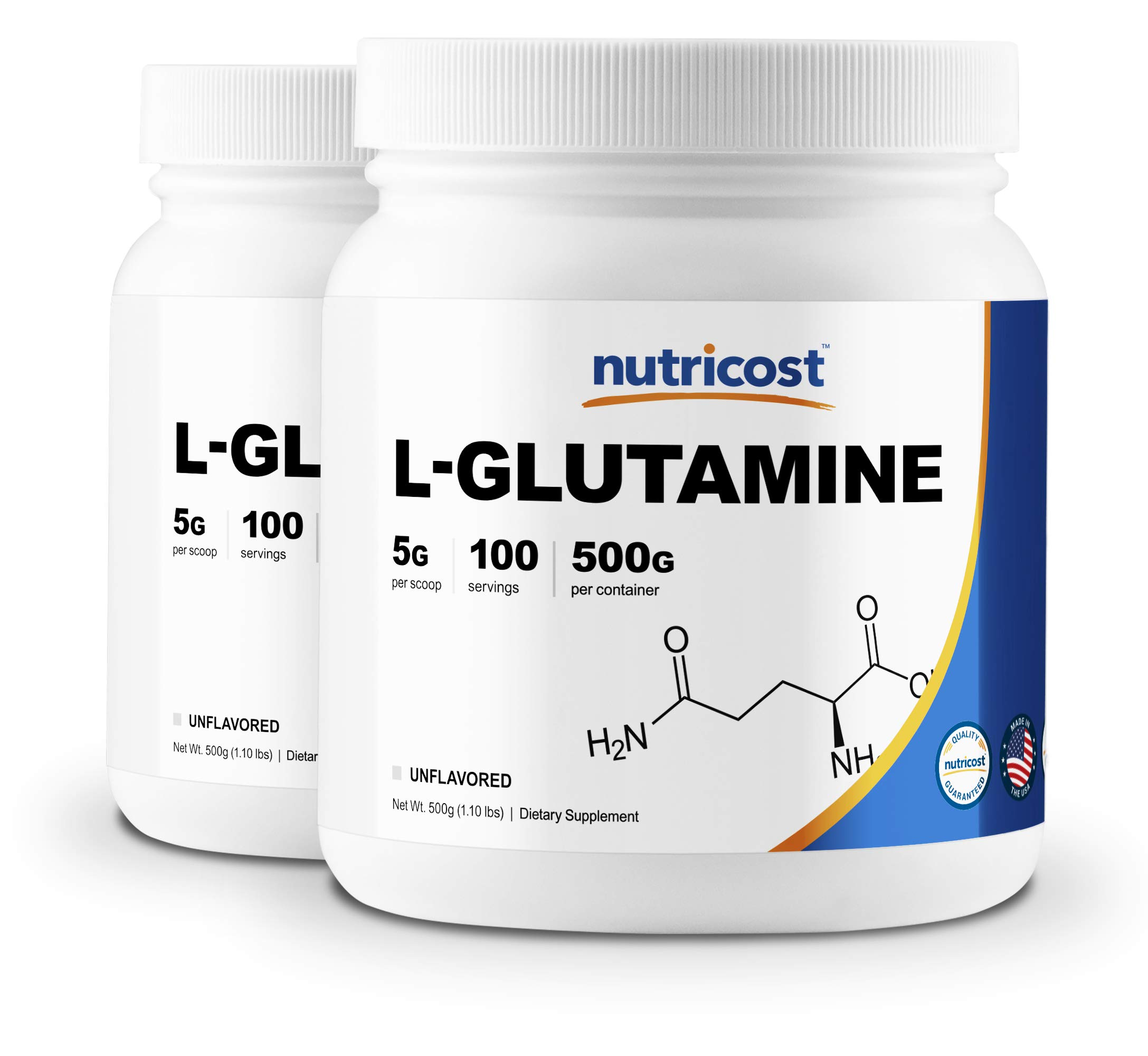 Nutricost L-Glutamine Powder 500G (2 Pack) - Pure L Glutamine - 5000mg Per Serving - 1.1 Pounds & 100 Servings Each - Highest Purity