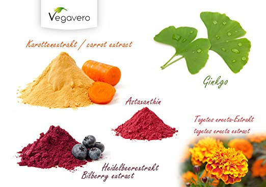 Vitaminas para Vista y Piel Vegavero | Bronceado y protección de la piel + Protección de la vista + Antioxidante | 90 cápsulas | Extracto de arándano ...
