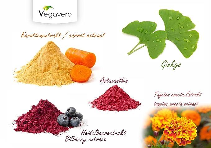 Vitaminas para Vista y Piel Vegavero | Bronceado y protección de la piel + Protección de la vista + Antioxidante | 90 cápsulas | Extracto de arándano + ...