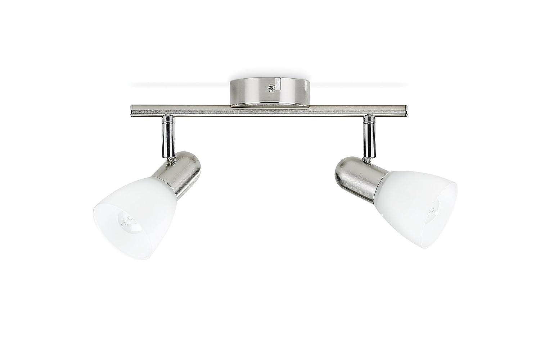 Lampe avec spots orientables Burlap Philips finition nickel 4 x 40 W chrome sans ampoule