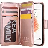 iPhone SE Case, iPhone 5s Wallet Case, ULAK Premium PU Leather Magnet Wallet Cover for Apple iPhone 5/5S/SE (2016 Release) with 9 Card Slots ID Holders (Rose Gold)