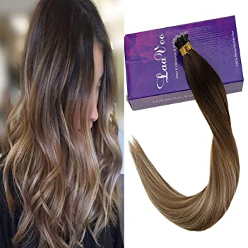 Laavoo 20 Inch Nano Tip Remy Human Hair Balayage Darker Brown To Light Brown And Golden Blonde Cold Fusion Hair Extension 1g Strand 50 Strands