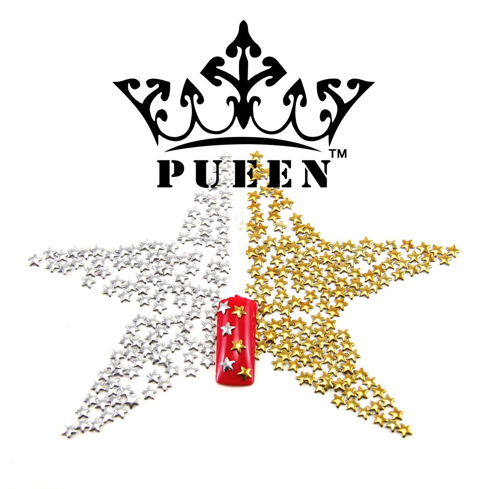 PUEEN 3D Nail Art 300 Pieces Gold & Silver 5mm Star Metal Studs for Cellphones & Nails Decorations-BH000039 3st300gs